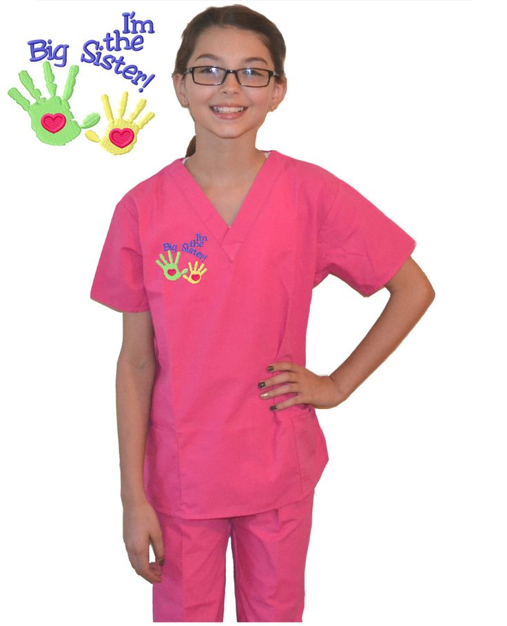 Pink Kids Scrubs Big Sister Embroidery by MyLittleDoc on Etsy https://www.etsy.com/listing/218597793/pink-kids-scrubs-big-sister-embroidery