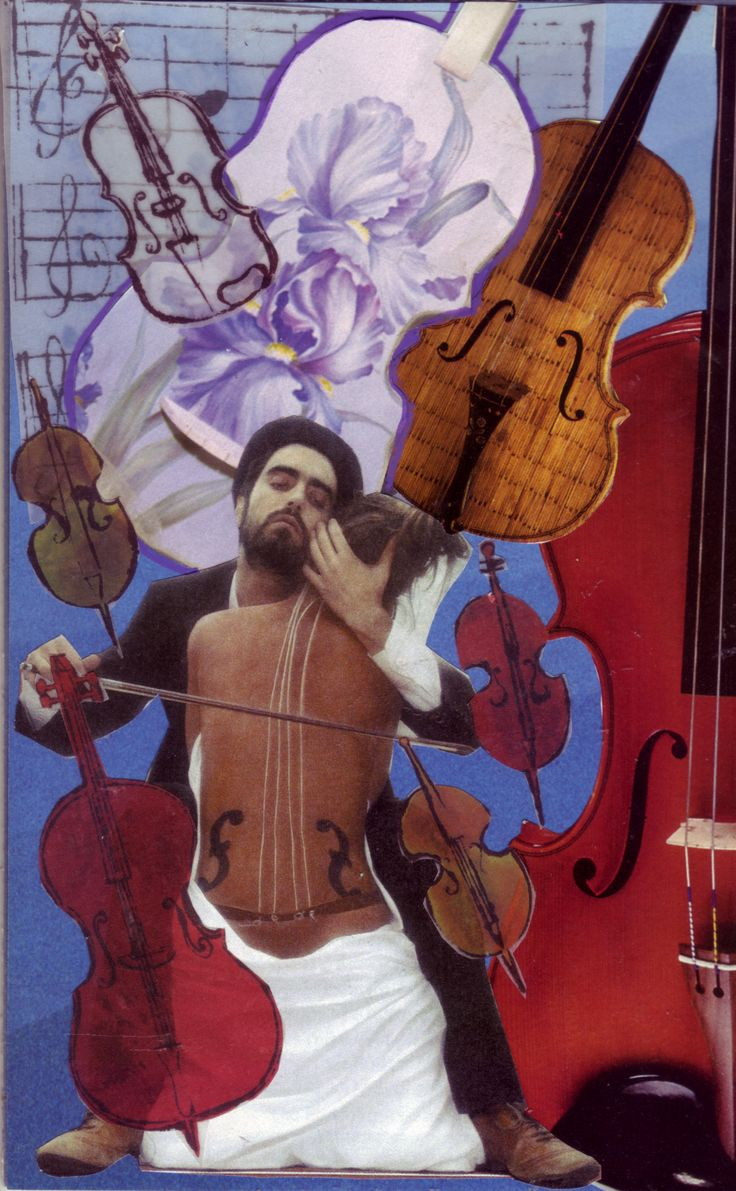 """SoulCollage card - Council - Self as Cello  I am one who has been called """"fine tuned"""" sometimes with the implication that I am overly sensitive, and yet I grow excited when I see orchestras tuning up because I know beautiful and varied music will spring forth. I like to think of myself sometimes as a cello, fully trusting the cellist to play me as well as he/she can.  Sometimes I have a hard time trusting someone else to be in charge of me. This depicts Higher Power and me."""
