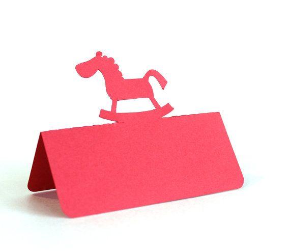 Cavallo a dondolo Place Cards Set di 25 baby shower di Tiffzippy