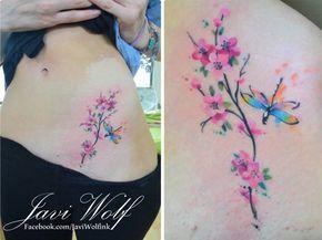 Flores de Cerezo estilo Acuarelas by Javi Wolf - Tatuajes para Mujeres. Encuentra esta muchas ideas mas de Tattoos. Miles de imágenes y fotos día a día. Seguinos en Facebook.com/TatuajesParaMujeres!