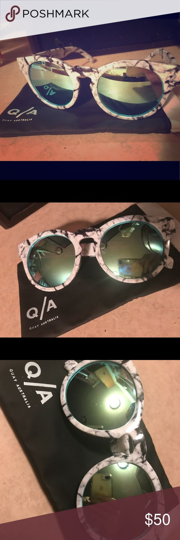 "Authentic Quay Australia Sunglasses ✨Re-Poshing this SUPER cute pair of Authentic Quay Australia Sunnies😎Funny! I bought these Sunnies off Poshmark an wound up ""loosing them"" in a purse👜 I put up into my closet👗👠👛👓I looked👀EVERYWHERE for them, just gave up after getting inpatient for someone to list the exact pair👓again on Posh, and purchased them off the Quay Australia website. I later found the original pair, and now I have two of the same so I'm selling one!🤳🏼💅🏼💋💁🏼✨🚫No low…"