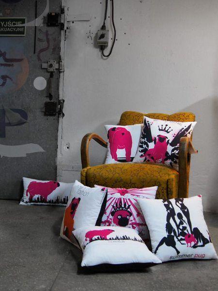 Pug off - poduszka dekoracyjna - PinkPugDesign - Poduszki