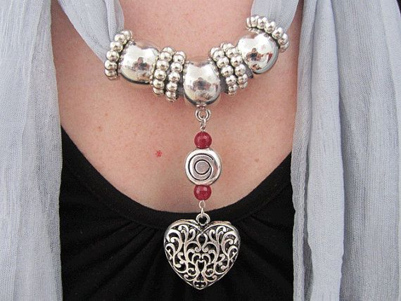 Heart Scarf Jewelry by RDVIVAJEWELRY on Etsy, $20.00