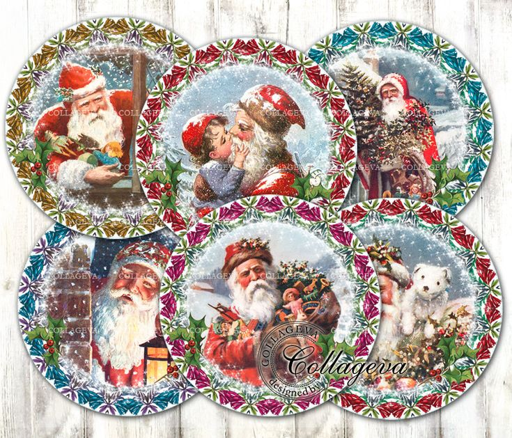 "Vintage Santa Claus Digital Collage Sheet 4"" 3"" 2.5"" 2 inch circles, Round Coasters, Victorian Christmas Ephemera Xmas Wreath Noel (EC03-c) by collageva on Etsy"