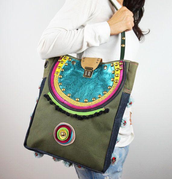 Tote Bag Military Canvas and Leather/ Casual Upcycled Canvas Shoulder Bag/Colorful Boho Chic Bag/Tribal Bag/Ethnic Handbag – IreneAfrikaEC1