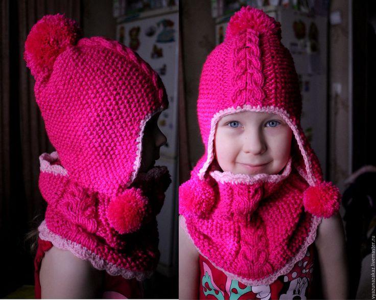 Купить Шапка + снуд для девочки - комбинированный, шапка, шапочка для девочки, шапочка, снуд, хомут