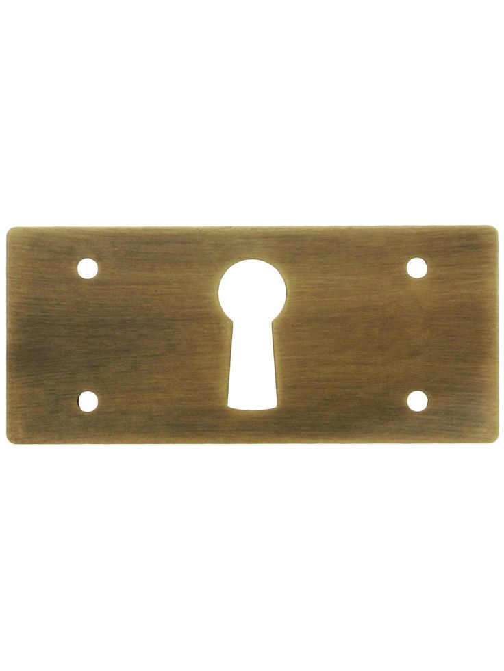 Keyhole Cover Plates. Solid Brass Rectangular Mission Style Keyhole Cover in Antique-By-Hand Finish