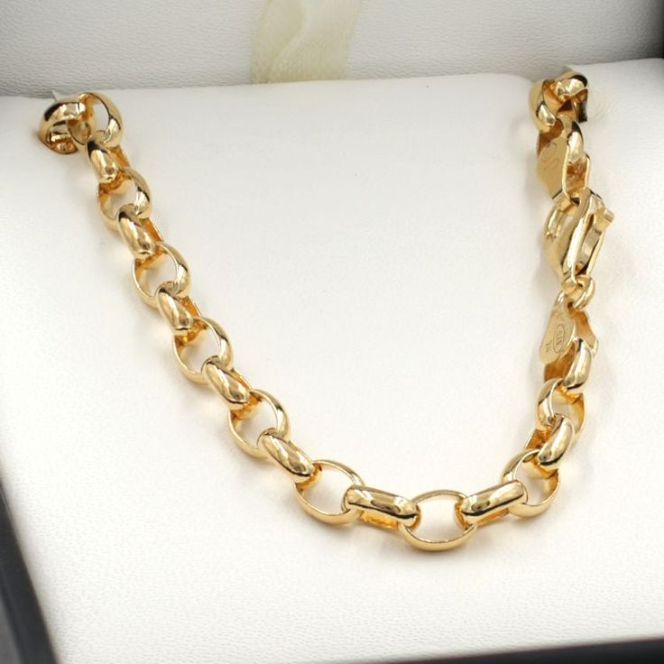 55cm Yellow Gold Oval Belcher Chain Necklace - GN-BO3