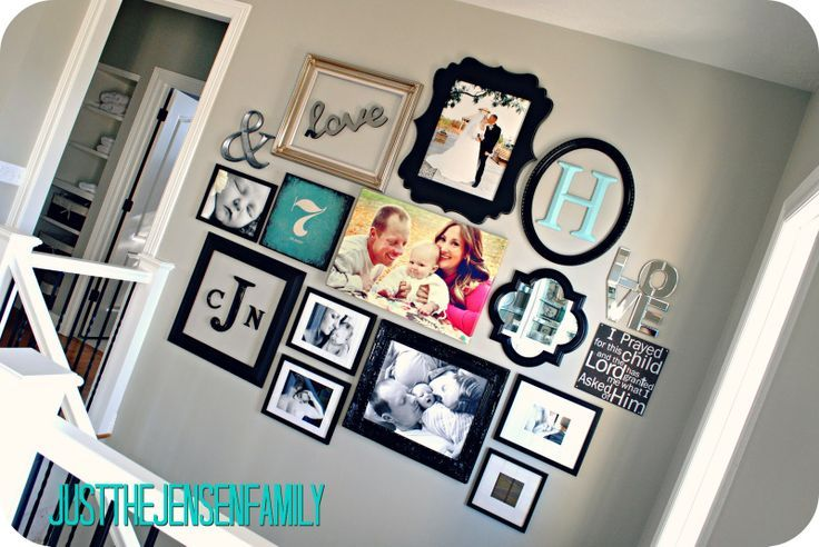 DIY Gallery Wall I like this look. Ive seen it with all the same color frame, but its nice with different colors.