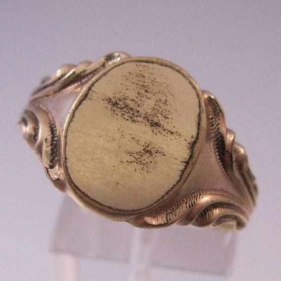 1910s UNCAS 12K GF Mens Signet Ring Size 11 by BrightEyesTreasures, $39.00