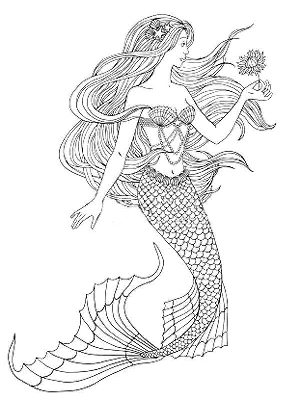 Mermaid With Flower Mermaid Drawings Easy Mermaid Drawing Mermaid Coloring Pages