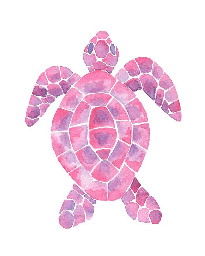 Pink And Purple Watercolor Sea Turtle Art Print Beach Bedroom