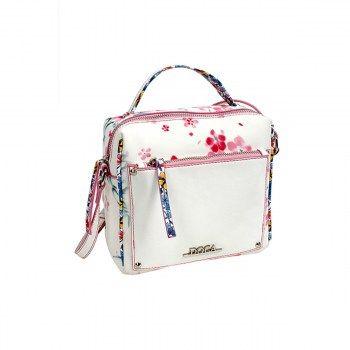 Καθημερινή τσάντα άσπρη-floral