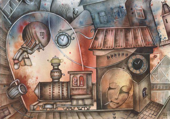 SOLD. Railway Station Sleep by Eugene Ivanov, watercolor on paper, 29 X 41 cm. #eugeneivanov #@eugene_1_ivanov #modern #original #oil #watercolor #painting #sale #art_for_sale #original_art_for_sale #modern_art_for_sale #canvas_art_for_sale #art_for_sale_artworks #art_for_sale_water_colors #art_for_sale_artist #art_for_sale_eugene_ivanov