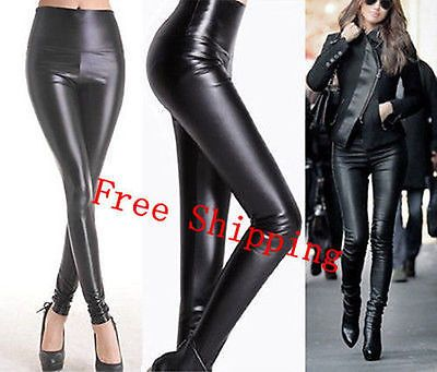 Lady Women's Sexy High Waisted Faux Leather Skinny Stretch Pants Slim Legging DT