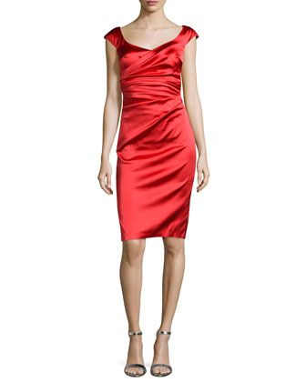 Off-The-Shoulder+Cocktail+Dress,+Cerise+by+Talbot+Runhof+at+Neiman+Marcus.