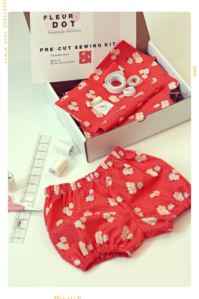 Girls Floral Bubble Shorts DIY PreCut Sewing Kit from Fleur + Dot #sewing #DIY #Kids