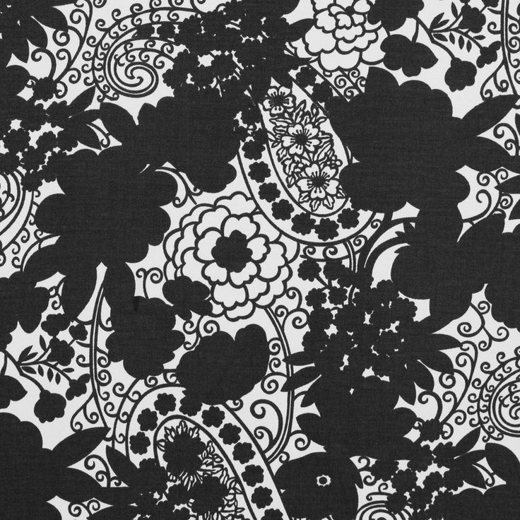 Black and Ivory Floral and Paisley Printed Stretch Cotton Sateen