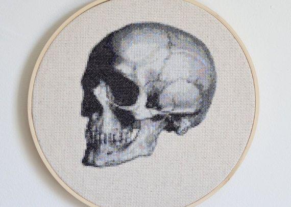 Anatomical Skull Cross Stitch Pattern