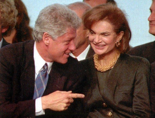 Bill Clinton 'tried to seduce' former First Lady Jackie Kennedy, according to outlandish claims in a new book. Above the pair are pictured together in 1993 at an event at the Kennedy Library in Boston