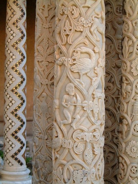 ,,,carved columns from the Monreale Cathedral in Sicily...#white #cream #beige