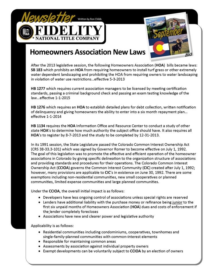 Homeowners Association New Laws Fidelity National Title