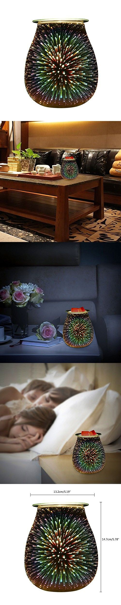 COOSA 3D Effect Starburst Fireworks Electric Oil Warmer, Beautiful Glass Wax Tart Burner Starburst Night Light Aroma Decorative Lamp with 3D Effect for Gifts, Decor and Parties (Multicolor)