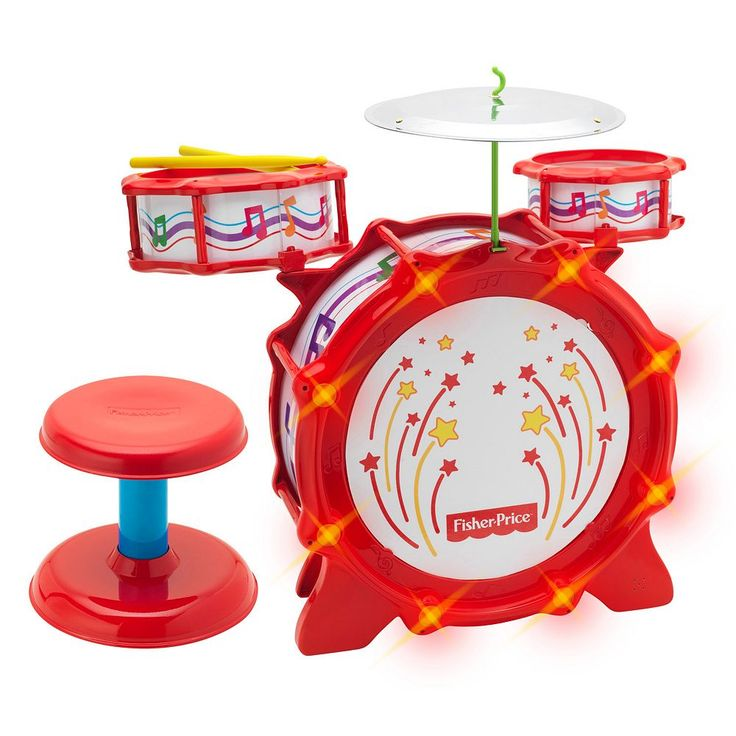 Fisher-Price Big Bang Drum Set with Lights, Multicolor