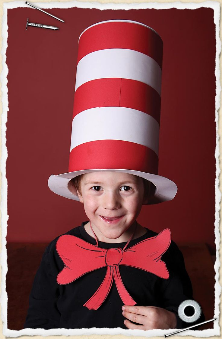 Young boy wearing a pop-up cat in the hat costume