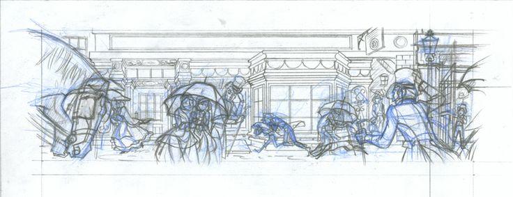Dibujo de viñeta 1 p.6c2. Dibujo viñeta1 p6 c2: Lápiz azul y de grafito sobre papel dinA4: 25€  David Belmonte ©