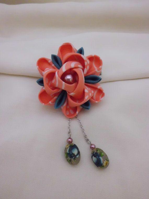 Peach Camellia Kanzashi Inspired Duo Hair Clip by JagataraArt, $20.00