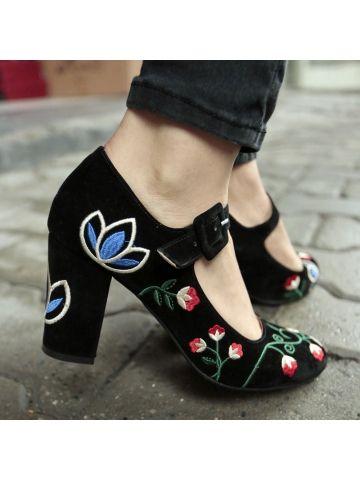Çiçek Nakış İşlemeli Topuklu Ayakkabı - Fotoğraf 2