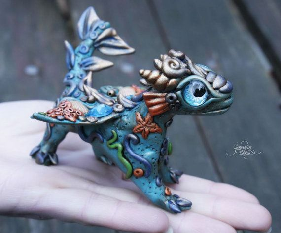 Water baby dragon - Tiny Dragon Sculpture, Cute Dragon figurine, Ooak dragon, polymer clay dragon, totem animal, sea dragon, amazonite by GloriosaArt