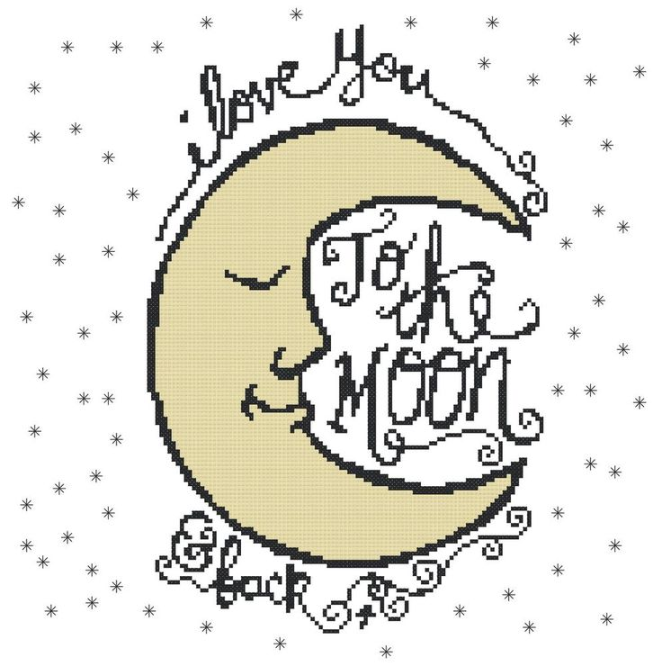 Counted Cross Stitch Pattern, I Love You to the Moon & Back - Free US Shipping