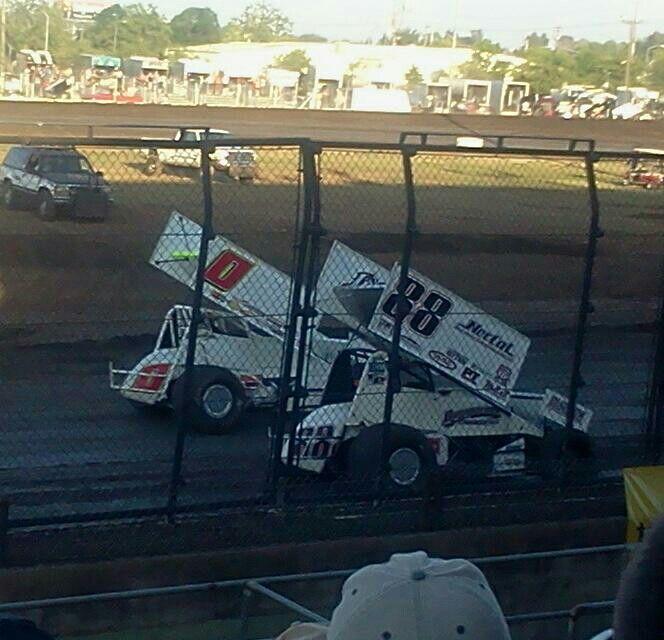 Bud Kaeding (0) & Brian Baumgarner (88) @ Silver Dollar Speedway; Chico, CA. 6/6/14