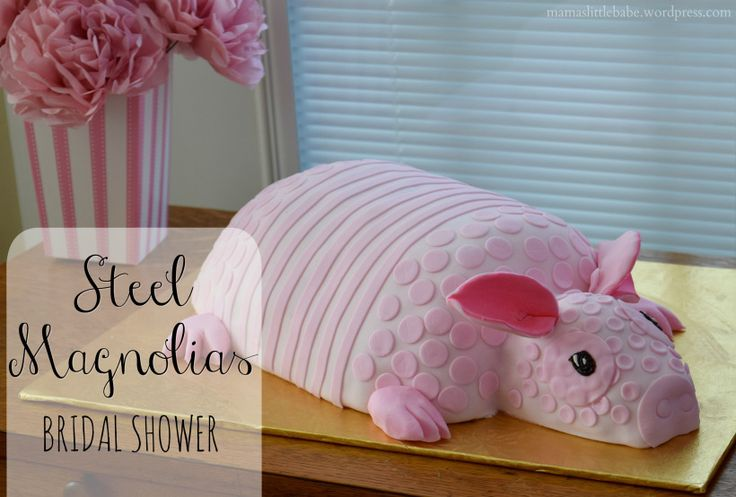 Steel Magnolias themed Southern Bridal Shower, Armadillo Cake,