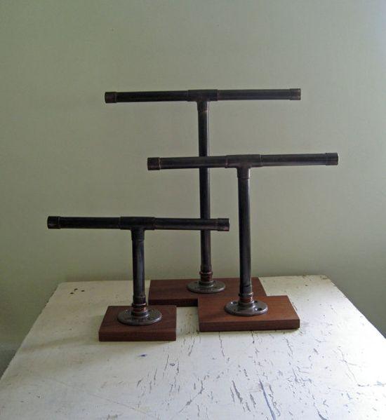 28 best images about industrial jewelry display booth on for Copper pipe jewelry stand