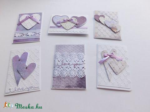 Fehér- levendula esküvői képeslap variációk, Esküvő, Naptár, képeslap, album, Nászajándék, Papírművészet, Meska