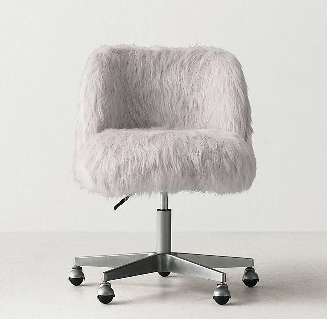 Alessa Kashmir Faux Fur Desk Chair Pewter Desk Chair Cute Desk Chair Bedroom Desk Chair