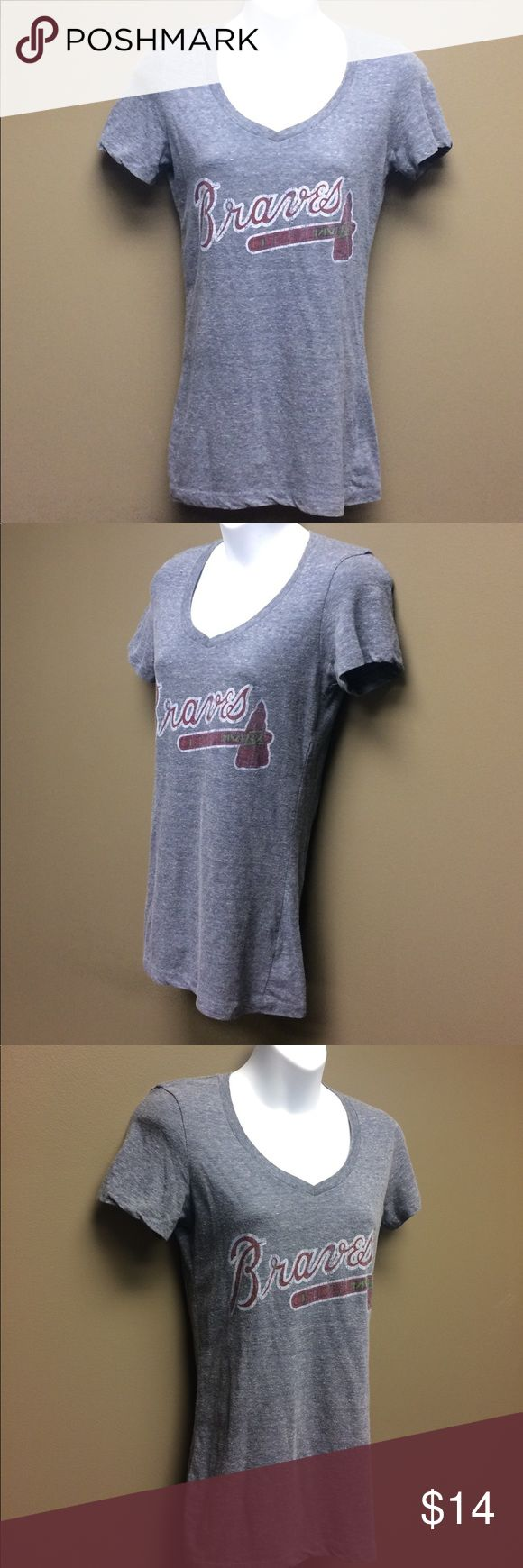 Atlanta Braves Heather Grey V Neck Tee Shirt, M Atlanta Braves Heather Grey V Neck Tee Shirt, M Tops Tees - Short Sleeve