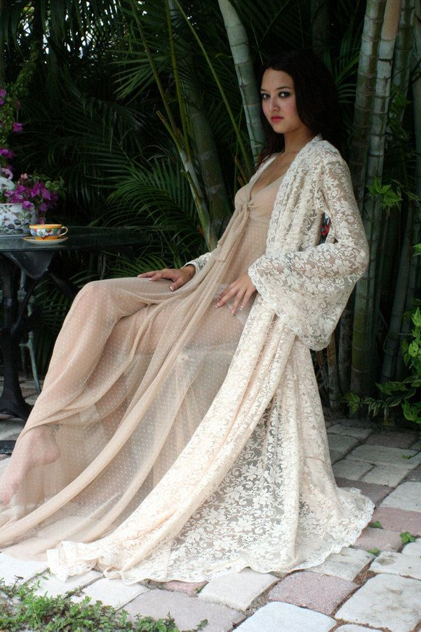 Romantic wedding lingerie. What dreams are made of. Stunning Ivory lace angel sleeve robe perfect for the Paris Chic bride.