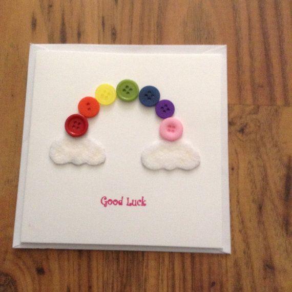 Good Luck rainbow button card by SunshyneOnARainyDay on Etsy