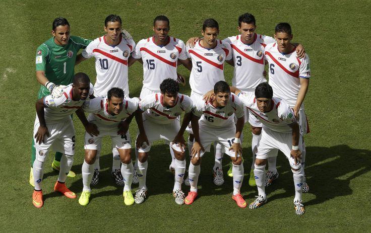 Back row from left, Costa Rica's goalkeeper Keylor Navas, Bryan Ruiz, Junior Diaz, Celso Borges, Giancarlo Gonzalez, and Oscar Duarte, f...