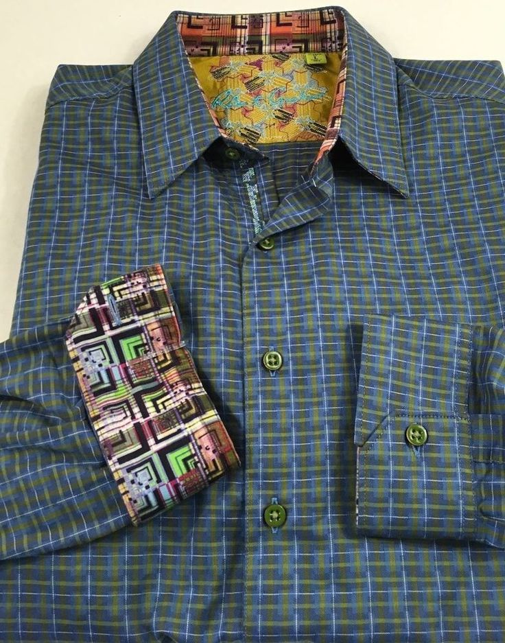 Robert Graham Men's Long Sleeve Button Down Shirt Large Flip Cuff Plaids & Check #RobertGraham #ButtonFront