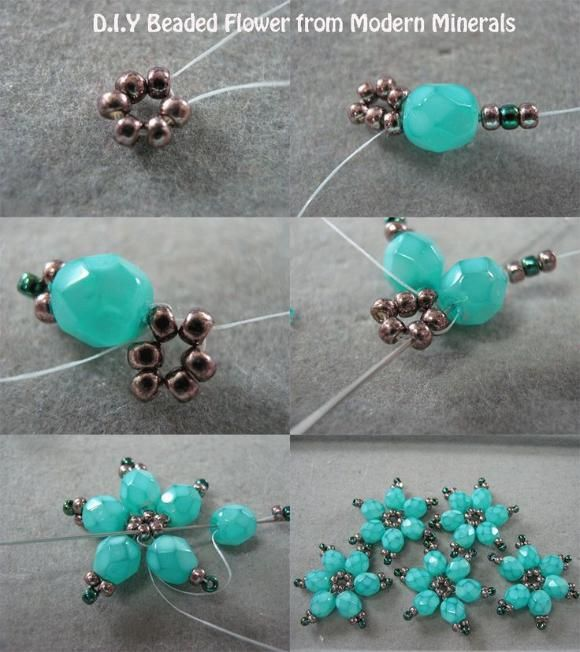 Beaded flowers - #diy, Jewelry: