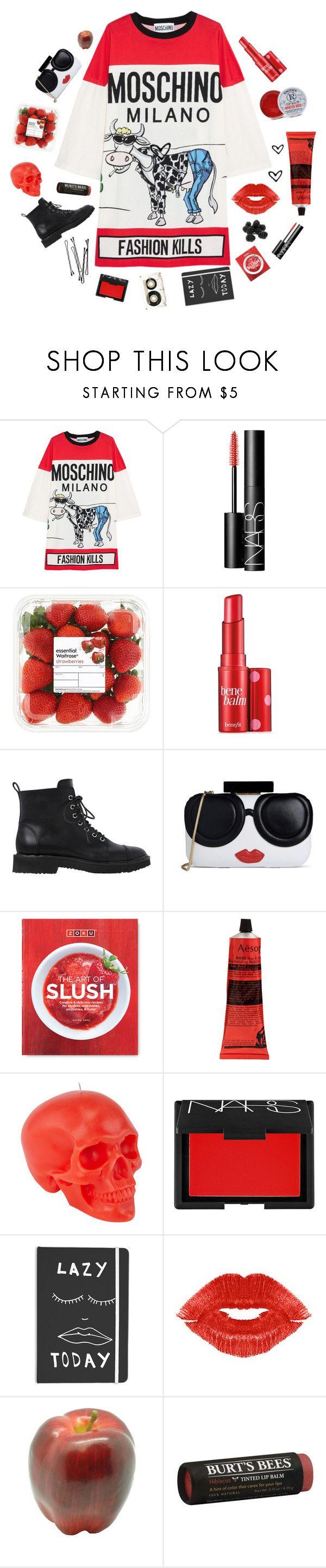 """Tee dress!!!!!"" by karineminzonwilson ❤ liked on Polyvore featuring Moschino, NARS Cosmetics, Benefit, Giuseppe Zanotti, Alice + Olivia, Rosebud Perfume Co., Zoku, Aesop, D.L. & Co. and BOBBY"