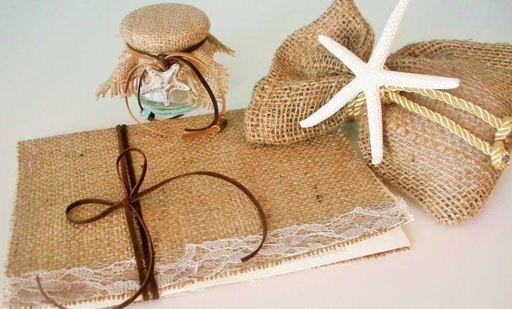 Μπομπονιέρες και προσκλητήριο γάμου με λινάτσα