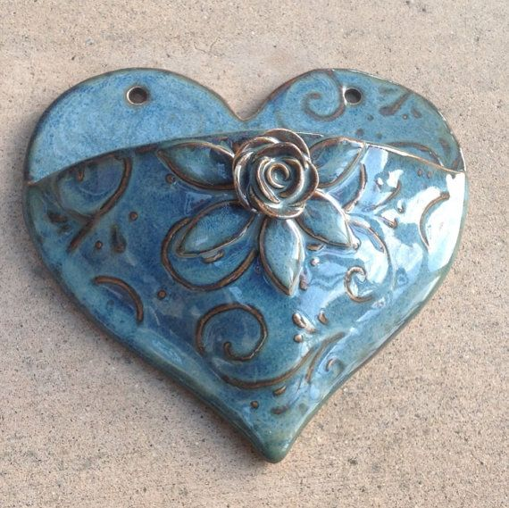 Heart Wall Pocket in Blue with Rose Leaves and Vines by kduddy, $17.00