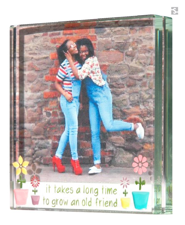 "Gifts for Friends, Handmade Glass frame flower pots ""It takes a long time to grow an old friend"" by Spaceform."