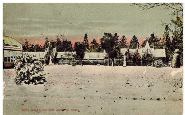 This is a postcard showing the snow at the Ballarat Botanical Gardens in 1905, with the old Gothic fernery in the background. This was sent to my grandmother in Western Australia in c1907, by friends from Learmonth, Victoria.